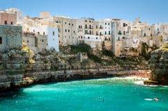 Puglia, Polignano a Mare. Town and beach stock image