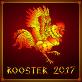 Pugnacious fiery rooster on red Royalty Free Stock Photography