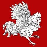 Pugnacius koguta kolorystyka na czerwieni Obrazy Stock