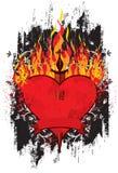 Pugnale bruciante del cuore Fotografie Stock