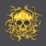 Pugnale dorato del cranio illustrazione di stock