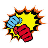 Pugni di resistenza, emblema di arti marziali. Vettore. Immagini Stock Libere da Diritti