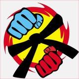 Pugni di resistenza, fascia, emblema di arti marziali. Vettore. Fotografia Stock Libera da Diritti