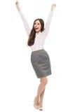 Pugni di serraggio emozionanti della donna Immagine Stock Libera da Diritti