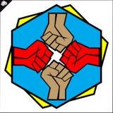 Pugni impostati. le arti marziali simbolizzano, simbolo. Vettore. Fotografia Stock