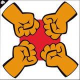 Pugni impostati. le arti marziali simbolizzano, simbolo. Vettore. Immagini Stock