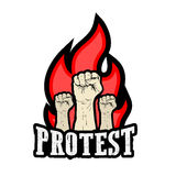 Pugno alzato iscenato nella protesta Fotografie Stock Libere da Diritti