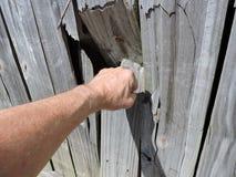 Pugno che perfora tramite il recinto di legno Fotografia Stock Libera da Diritti