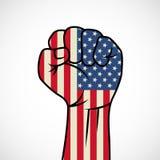 Pugno con la bandiera americana Fotografia Stock