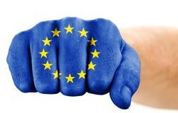Pugno con la bandierina del sindacato europeo Fotografia Stock Libera da Diritti