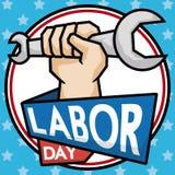 Pugno con una chiave per celebrare festa del lavoro, illustrazione di vettore illustrazione di stock