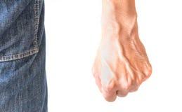Pugno dell'uomo con fondo bianco fotografie stock libere da diritti