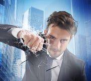 Pugno dell'uomo d'affari determinated Immagini Stock