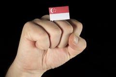 Pugno della mano dell'uomo con la bandiera di Singapore isolata sul nero Immagini Stock