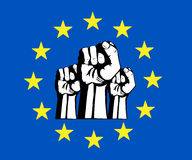 Pugno di Unione Europea, bandierina, protesta. Immagine Stock Libera da Diritti