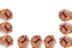 Pugno o mano serrata isolata su fondo bianco Fotografia Stock