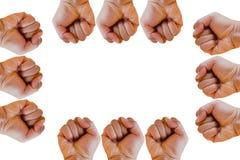 Pugno o mano serrata isolata su fondo bianco Fotografie Stock Libere da Diritti