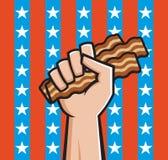 Pugno in pieno di bacon americano Fotografia Stock Libera da Diritti