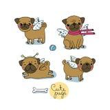 Pugs bonitos cães ilustração do vetor