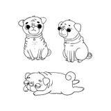 Pugs bonitos cães ilustração stock