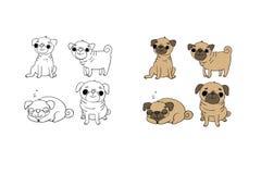 Pugs bonitos cães Objetos isolados desenho da mão no fundo branco ilustração stock