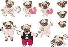 Pugs cartoon. Series of puppet pugs cartoon Stock Images