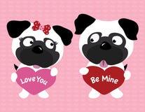 Pugs die van de valentijnskaart harten houden Stock Afbeeldingen