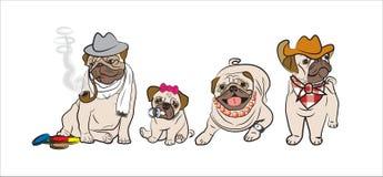 Pugs familie royalty-vrije illustratie
