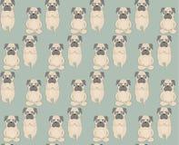 Pugs meditation yoga pattern. Cute dogs. Vector seamless pattern Stock Photography