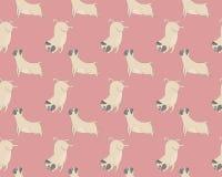 Pugs meditation yoga pattern. Cute dogs. Vector seamless pattern Stock Image