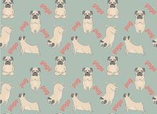 Pugs meditation yoga pattern. Cute dogs. Royalty Free Stock Photos