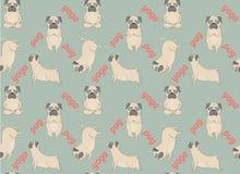 Pugs meditation yoga pattern. Cute dogs. Vector seamless pattern Royalty Free Stock Photos