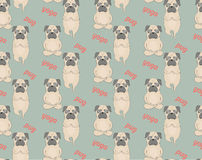 Pugs meditation yoga pattern. Cute dogs. Vector seamless pattern Stock Images