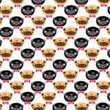 Pugs-Mustervektor Illustrationskarte Lizenzfreie Stockfotografie