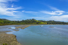 Puhoi`s Mouth River at Wenderholm Beach Auckland New Zealand; Regional Park. Water sport area; boating, kayak, swimming, fishing Royalty Free Stock Photos
