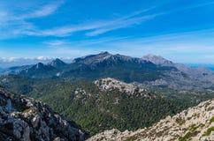 Puig de Massanella e maggiore in montagne di Tramuntana, Mallorca, Spagna Fotografia Stock