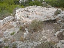 Puig de sa Morisca (Moorish Peak) archaeological park in Majorca. Ancient ruins in Puig de sa Morisca (meaning Moorish Peak) archaeological park in Majorca Stock Photo