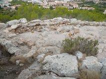 Puig DE sa Morisca Moors Piek archeologisch park in Majorca stock afbeelding