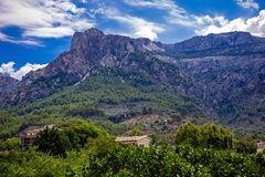 Puig Major mountains in Mallorca. Photograph of mountains around Puig Major area, on a way from Alcúdia to port Soller, Mallorca, Balearic Island, Spain Royalty Free Stock Images