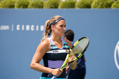 Puig 202. Mason, Ohio – August 13, 2017:  Monica Puig in a qualifying match at the Western and Southern Open tennis tournament in Mason, Ohio, on August 13 Royalty Free Stock Photography