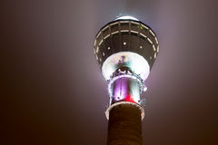 Puijo outlook tower in night lighting Stock Images