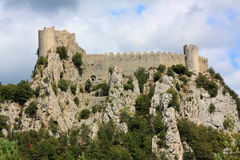 Puilaurens castle in France. Cathar castle in Languedoc-Roussillon,Aude Stock Photos