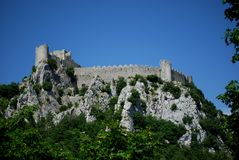 Puilaurens Castle in the south of France. Built by the Cathars who followed a Gnostic version of Christianity. They are believed by many alternative historians Royalty Free Stock Images