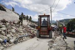 Puin van aardbeving, Pescaro del Tronto, Italië Stock Fotografie
