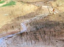 Épuisement de source d'eau, terre de sécheresse, sécurité de l'eau Image libre de droits