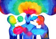 Puissance de écoute parlante humaine d'univers du monde de cerveau ensemble illustration libre de droits