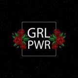Puissance de fille de GRL PWR Broderie avec des roses Illustration de vecteur Fond grunge La broderie de mode fleurit la correcti Photos stock