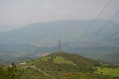 Puissance Polonais et lignes électriques, région d'Amhara, Ethiopie Photo libre de droits