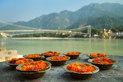 Puja blommar att erbjuda på banken av Ganges River royaltyfri bild
