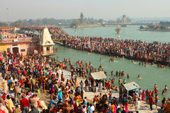 Puja ceremony on the banks of Ganga Stock Photos